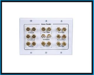 White 7 1 Home Theater Surround Sound Gold Binding Post Speaker Wire Wall Plate