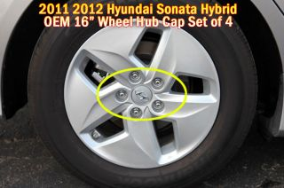 2011 2012 Hyundai Sonata Hybrid 16 inch Wheel Hub Caps 4pc Set