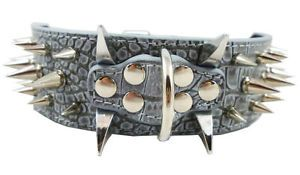 "PU Leather Dog Collar Spiked Studded Gray for Neck 15"" 24""Pitbull Bully"