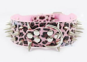 Pink Leopard 100 GUARANTEE Spiked Studded Leather Dog Collars Pitbull P50 PL L
