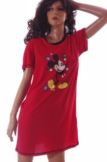 Mickey Mouse Womens Disney World Red Nightgown Night Shirt PJs Pajamas Large New