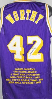 Lakers James Worthy Authentic Signed Purple Jersey w Stats Autographed PSA DNA