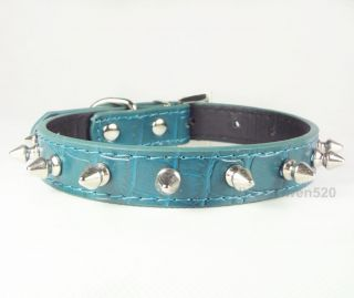 Spiked Studded Leather Dog Collar Puppy Small Dog Pet Cat Collars Green Size S