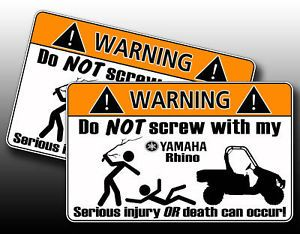 Funny Yamaha Rhino UTV 4x4 Off Road Warning Sticker