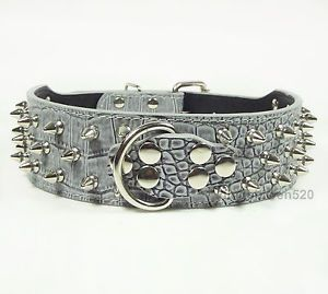 Brand New Gray Leather Dog Collar Spikes Studded Collars Pit Bull Terrier Boxer