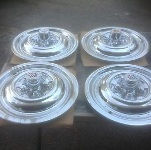 "Nors Blemish 15"" Chrome Reverse Hubcaps Wheel Covers Rat Rod Ford Mopar Chevy"