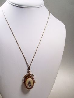 Antique Victorian 2 Sided Locket Spinner Rose Gold Fill Bird Crane Shell Inlay