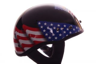 Mens Raptor Motorcycle Half Helmet Dot Small Black Bald Eagle American Flag New