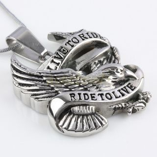 Biker Carved Live to Ride Eagle Hawk Stainless Steel Pendant Fit Necklace Chain