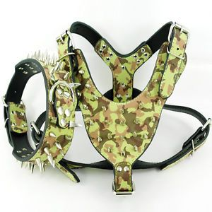 Camouflage Spiked Studded Leather Dog Harness Collar Set for Pitbull Bully