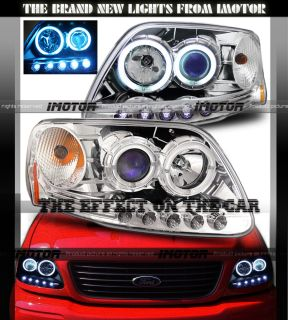 Ford 97 03 F150 97 02 Expedition Dual CCFL Halo Projector LED Chrome Headlights