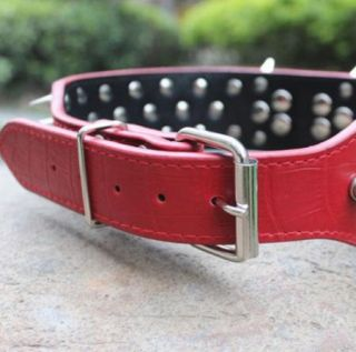 Spiked Studded Leather Dog Collar Large Dog Pet Collar s M L