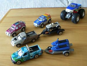 4 SUV Toy Trucks Pickups 2 Trailers 1 Tonka Pullback Monster Truck