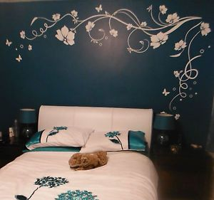 Large Butterfly Vine Flower Wall Stickers Wall Decals