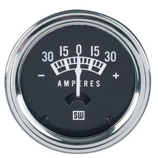 New Stewart Warner Ammeter Gauge Black Chrome 30 0 30