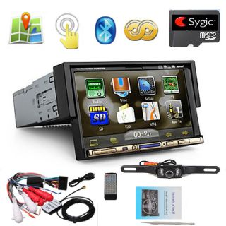 "Single 1 DIN 7"" in Dash Car Stereo DVD  Player GPS Navi iPod Official Map"