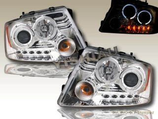 04 08 Ford F150 06 08 Lincoln Mark Lt Two Halo LED Projector Headlights Chrome