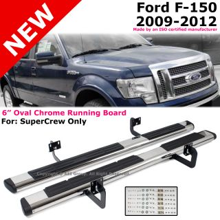 Ford F150 09 12 Super Crew 6 Oval Chrome Black Running Board Side Step Nerf Bar