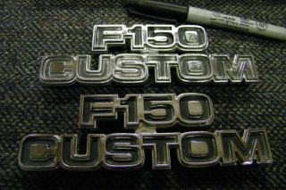 Original Chrome Metal 1970's 1980's Ford F150 Custom Emblems Pickup Truck
