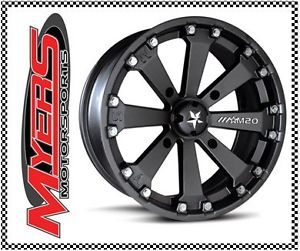 "MSA M20 Kore ATV Wheels Rims Black 14"" Yamaha Grizzly Rhino 660 700"