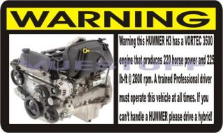 Hummer H3 Funny Warning Decal Sticker 2006 06 H 3 New