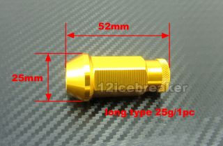 Gold Lightweight Wheel Rim Racing Lug Nut Screw Long Open End M12 x 1 25 20pcs