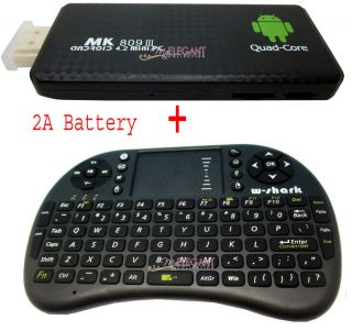 MK809 Quad Core Bluetooth Android Mini PC TV Box Wireless Keyboard Mouse Black