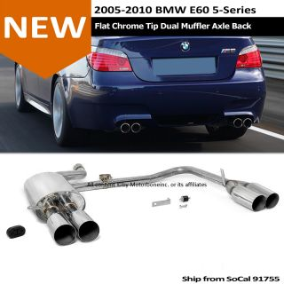 04 10 BMW E60 LCI M5 Style Axle Back Dual Exhaust N1 Muffler Chrome Tip Flat