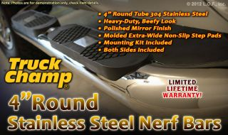 "Nerf Side Step Bars 4"" Round Stainless 2007 2013 Jeep Wrangler JK Unlimited 4DR"