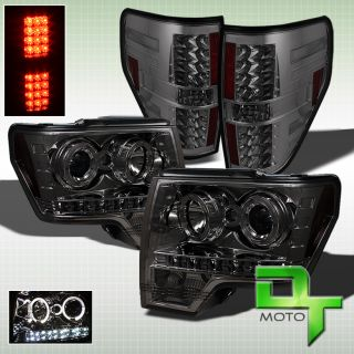 Smoked 09 13 F150 Dual Halo Projector Headlights Smoke LED Tail Lights Lamps