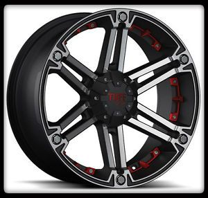 "20"" x 9"" Tuff T01 Black Rims w 33x12 50R20LT Toyo Open Country M T Wheels Tires"