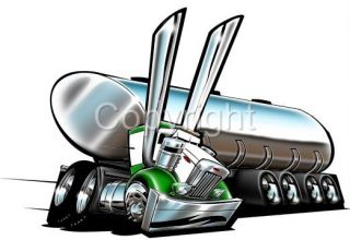 Tanker Big Rig Tank Truck Cartoon Tshirt 1004 Gas Oil Milk Diesel Water Hauler