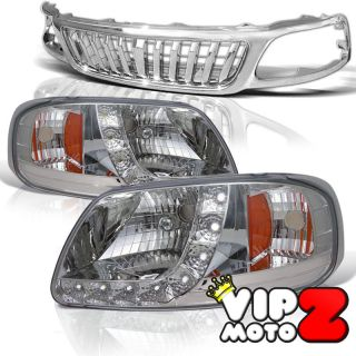 Combo Ford F150 Expedition Front Hood Grill Grille Chrome LED Headlight Lamps