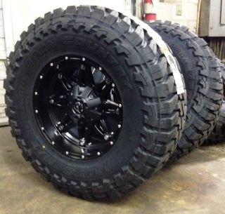 "5 17"" Fuel Hostage Black Wheels Jeep Wrangler JK 35"" Toyo MT Tires Package"