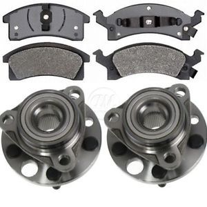 Chevy Buick Pontiac 2 Front Wheel Bearing Hub Assemblies Metallic Pads Set Kit