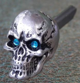 Pewter Grinning Skull w Blue Eyes Key Honda Shadow VTX Fury Sabre Rebel Valkyre