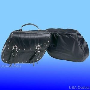 2pc Leather Motorcycle Saddle Bags for Honda Shadow Sabre Ace 1100 750 VTX 1300