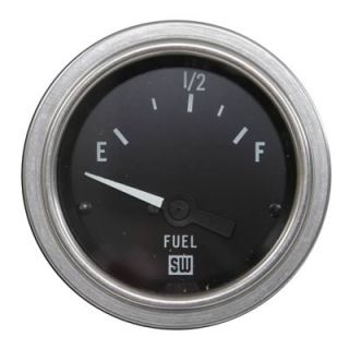 "Stewart Warner Deluxe Series Electrical Fuel Level Gauge 2 1 16"" Dia Black Face"