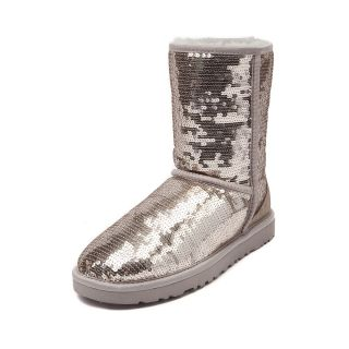 Womens UGG® Classic Short Sequin Boot, Silver