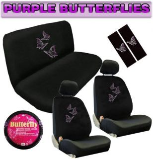 Purple Butterfly 11pc Universal Car Seat Covers Bench Floor Mats Interior Set