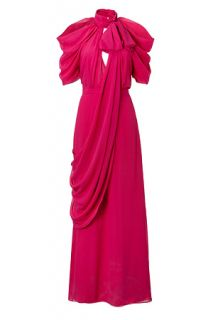 Pink Halter Neck Silk Gown by VIKTOR & ROLF