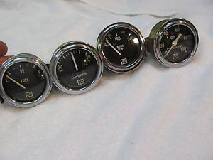 "Vintage Stewart Warner ""Large Bloc"" Original Gauges 2 1 8 Curved Glass 6 Volt"
