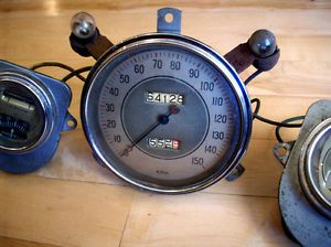 1935 1936 Ford Speedometer Stewart Warner 150km MPH Fuel Oil Gauges Set RARE