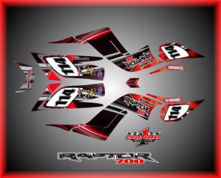 Yamaha Raptor 700 Semi Custom Graphic Kit Red Shock Graphics