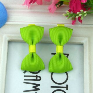 2pcs 1 Pair Lovely Cute Pure Green Barrettes Hairclips Baby Girl Toddler 080