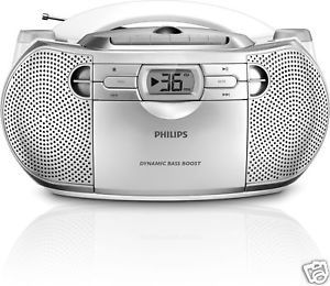 New Philips AZ1027 Portable Stereo Boombox CD Radio Cassette Player 220V