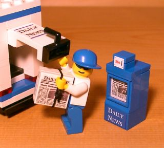 Custom Newspaper Delivery Truck for Town City Train Lego Set News Vehicle Gift