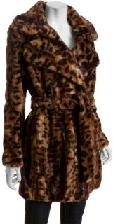 Calvin Klein Brown Leopard Print Faux Fur Tie Waist Coat Sz Small