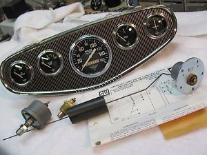 "Vintage Stewart Warner ""Wings"" Gauges w Panel for Scta Racing All 12volt Awesome"