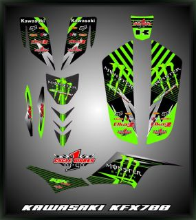 Kawasaki KFX700 KFX 700 Custom Monster Graphics Kit Decals Graficas Pegatinas